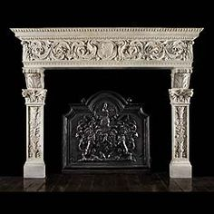 This custom marble mantel surround of a royal family castle can be reproduce in Italian marble to bring an ultimate look to your atmosphere. Marble Fireplace Mantel, Inglenook Fireplace, Fireplace Shelves, Marble Fireplaces, Fireplace Surrounds, Fireplace Design, Fireplace Mantels, Fireplace Ideas, Antique Mantel