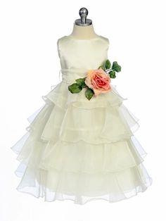 Ivory Flower Girl Dress -  Layered Organza -   flower girls? Love the dress, not the flower...
