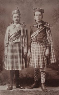 +~+~ Antique Photograph ~+~+  Two girls in highland dance tartan