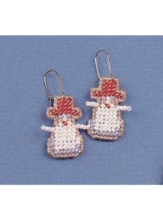 Plastic Canvas - Accessories - Gifts - Beaded Snowman Earrings - #FP00062