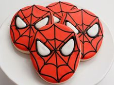 Superhero Party Food Ideas: Amazing Desserts and Superhero Snacks.need some superhero party food for your birthday party? Spiderman Cookies, Superhero Cookies, Spiderman Theme, Spiderman Spider, Spider Webs, Superhero Cake, Superhero Party Food, Birthday Love, Birthday Ideas