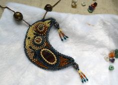 Agate Bead embroidery necklace Waning crescent Moon Gemstone beadwork Beaded embroidered jewelry Boho Beadwork necklace Unique gift idea