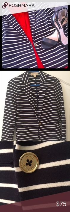 Michael Kors navy striped blazer Michael Kors navy and white striped blazer with gold details. Size 4. Please take a look at the rest of my closet! I am very open to reasonable offers! Michael Kors Jackets & Coats Blazers
