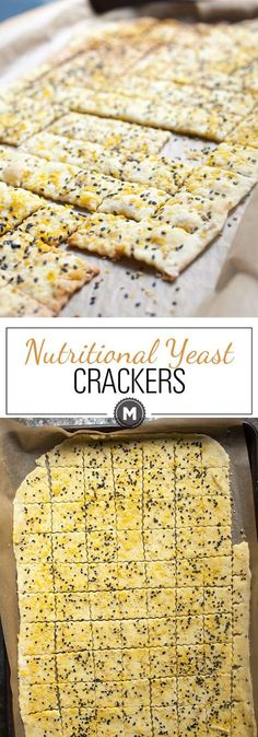 Can't-Stop Crackers: These nutritional yeast crackers are savory, crispy, and SO addictive. Make a double batch because they going to go fast. As in, once you start eating them, you won't stop!   macheesmo.com