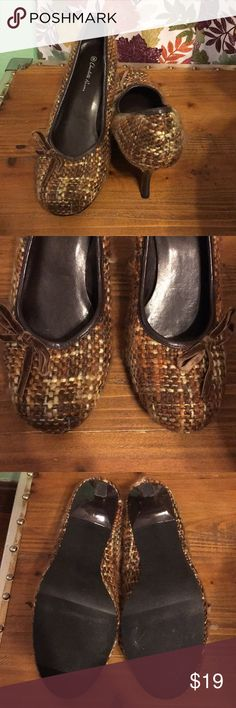 "Tweed plaid brown heels Brown tweed rounded toe heels with velvet bow. Never worn. 3"" heels Shoes Heels"