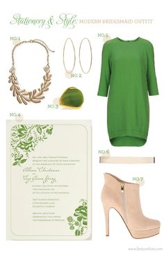 Stationery & Style: Modern Bridesmaid Outfit featuring the 'Liv' #weddinginvitation // Flights of Fancy
