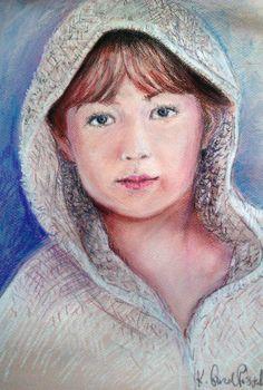 Original pastel portrait from photo 16 x 12 40 x 30 cm by kaguzal, author Kamila Guzal-Pośrednik
