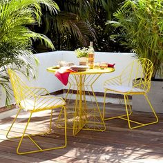 Mid Century Outdoor Furniture | west elm bend bistro mid-century modern outdoor chevron yellow chair ...