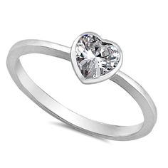 .925 Sterling Silver Kids and Ladies Clear Diamond CZ Heart ring Size 2-10