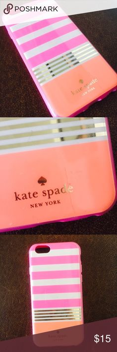 """Kate Spade Living Colorfully Pink IPhone 6 Case Super bright and fun IPhone 6 case by Kate Spade.  Notates """"Live Colorfully"""" inside.  It is bright orange, pink, white and gold. In great condition! Perfect for the Kate Spade fan. kate spade Accessories Phone Cases"""