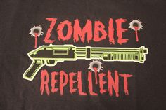 zombie repellent funny black t-shirt tee NWOT gift Halloween novelty graphic #JERZEESGildanFOLweonlyusenamebrandfirsts #ShortSleeve