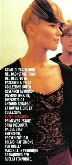 Ruffo Research - Autumn Winter 1998 1999 - Paris Fashion Week - Backstage - Valeria Mazza - Designer: Antonio Berardi