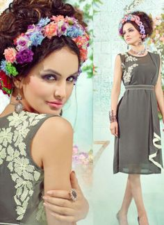 Grey and Cream1005 Embroidered Georgette Stitched Party Wear Kurti at Zikimo