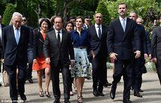 Spanish Ambassador to France, Jamon De Miguel, French President Francois Hollande, Queen L...