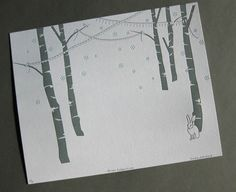 letterpress print ~ forrest celebration, bunny in snow with birches