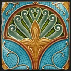 Decorative Ceramic tile X inches, Illustration Vintage art nouveau Motifs Art Nouveau, Azulejos Art Nouveau, Motif Art Deco, Art Nouveau Tiles, Art Nouveau Design, Antique Tiles, Vintage Tile, Vintage Art, Antique Art