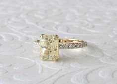GIA Certified 3.14 Cts. Radiant Cut Yellow Sapphire Diamond Solitaire Engagement Ring in 14K Yellow Gold