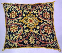 William Morris Cushion - tapestry kit by Glorafilia - A lovely floral design based on the work of William Morris. Needlepoint Pillows, Needlepoint Stitches, Needlepoint Kits, Needlework, Cross Stitching, Cross Stitch Embroidery, Cross Stitch Patterns, Sewing Piping, William Morris Patterns