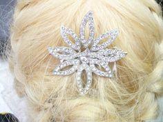 Vintage Bridal Hair Comb silvertone pot metal by ElegantiTesori