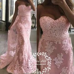 Romantic Pink Mermaid Beach Boho Wedding Dresses 2018 Lace 3D-Floral Pearls Long Sweep Train Bohemia Dress Bridal Formal Gowns