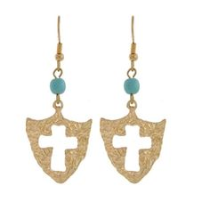 """💠 Turquoise Cross Earrings 💠 New featherweight Cross Earrings embellished with blue beads.  Color: Gold / Turquoise  WxL:  1"""" x  2  1/4""""   💞 Bundle Special: Mix and Match another $8 Item; 2 for $15. Price is firm; unless bundled💞 Modele Jewelry Jewelry Earrings"""