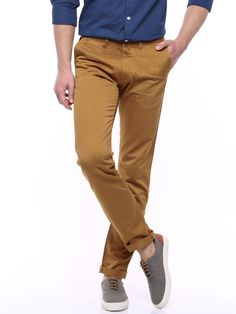 Buy Allen Solly Brown Trenim Casual Trousers - Trousers for Men | Myntra