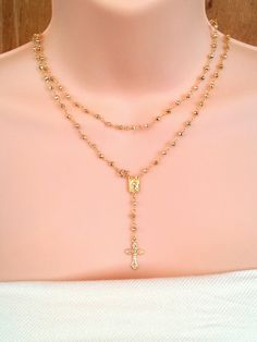 Gold Rosary Necklace Pyrite Gemstone Womens by divinitycollection, $135.00