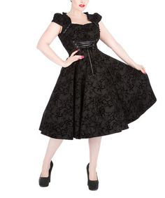 Black Floral Sweetheart Dress