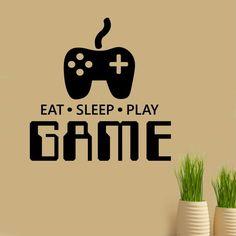Vinyl Wand Schriftzug Eat Sleep Play Game Video Gamer Zitat Aufkleber
