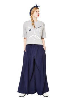 women casual look with navy long skirt by 2placebo #fashion #korean_fashion