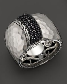 John Hardy Palu Silver Lava Wide Overlap Band Ring with Black Sapphires