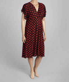 Look what I found on #zulily! Black & Red Polka Dot Surplice Dress - Plus #zulilyfinds