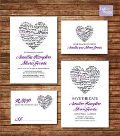 Purple Heart Wedding Invitation RSVP Thank you by DallinsPaperie