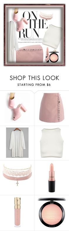 """""""Pink N white"""" by britt-catlynne-weatherall ❤ liked on Polyvore featuring Chicwish, Free People, Charlotte Russe, MAC Cosmetics and Smith & Cult"""