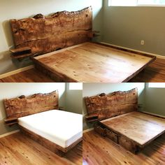 Made by Emerald City Slabs. Mattress by T… Sycamore live edge platform king bed. Made by Emerald City Slabs. Mattress by Tuft and Needle. Rustic Furniture, Bedroom Furniture, Home Furniture, Fireplace Furniture, Furniture Projects, Furniture Makeover, Furniture Design, Home Bedroom, Bedroom Decor