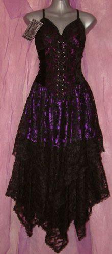Dark Star Gothic Black & Purple Lace Corset Dress - Click Image to Close