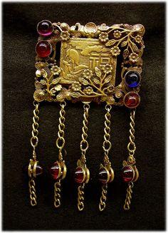 JOSEFF OF HOLLYWOOD Renowned Jeweled, Tasseled Oriental Brooch