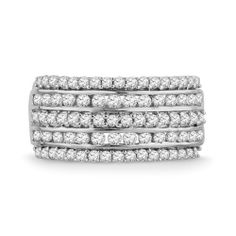 Platinum Plated Sterling Silver Round Diamond Fashion Band Ring (1 cttw) D-GOLD. $369.00