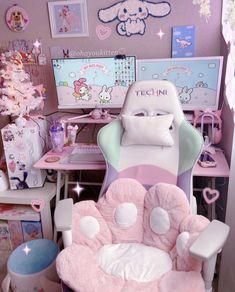 Cute Room Ideas, Cute Room Decor, Pastel Room, Pink Room, Neon Room, Gaming Room Setup, Pc Setup, Cool Gaming Setups, Gamer Setup
