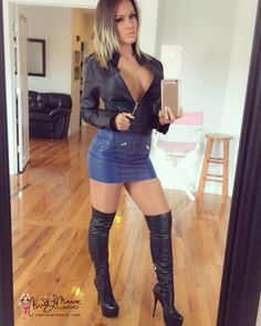 Mirror selfie from before my #photoshoot today in my thigh high boots and leather outfut photos and video coming soon on www.carrielachance.com . Boots by Arollo . #carrielachance #boots #thighhighboots #model #leatherskirt #leather #leatherjacket
