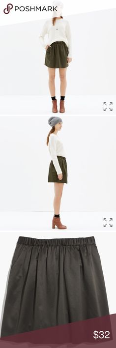 Madewell Satin Party Skirt with Pockets! Beautiful deep olive skirt! Only worn once! Madewell Skirts Mini