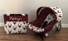Diaper Bag Car Seat Carrier Cover Made With Red Plaid And O Bear Buck Night Deer Fabric Monogram Minky Strap Covers For Baby