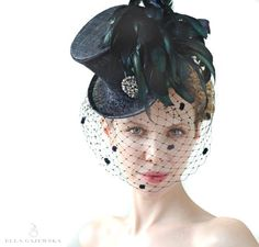 Mini Top Hat - Black with Mysterious Birdcage Veiling - Steampunk Accessory - Mad Hatter - Feather Racing Accessories - Gothic Aristocrat