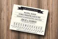 Punch+Card+Hipster+Graduation+2013+Party+by+PaperPapelShop+on+Etsy,+$10.00