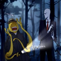 It's Koro-sensei from assasination classroom and slenderman! I love both assasination classroom and creepypasta! Otaku Anime, Manga Anime, Anime Art, Fandom Crossover, Anime Crossover, Koro Sensei, Creepypasta Cute, Tamako Love Story, Creepy Pasta Family