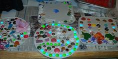 plaster of paris and some buttons and findings --and ta-da stepping stones for garden