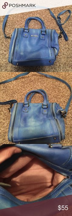 Old trend mini trunk satchel/crossbody Old trend blue crossbody or satchel. Perfect condition. Zipper details. Can remove crossbody strap. old trend Bags Crossbody Bags