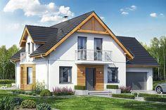 Projekt domu z poddaszem Baset 6 z garażem 2-st. o pow. 127,2 m2 z obszernym garażem, z dachem dwuspadowym, z tarasem, z wykuszem, sprawdź! Home Fashion, House Plans, Shed, Villa, Outdoor Structures, Cabin, Mansions, House Styles, Home Decor
