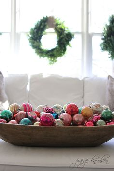 Big wooden bowl full of ornaments