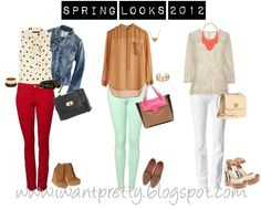 Spring outfits 2012:  Red/burgundy pants + polka dot shirt Mint pants + neutral + pink White pants + neutral + pop of color